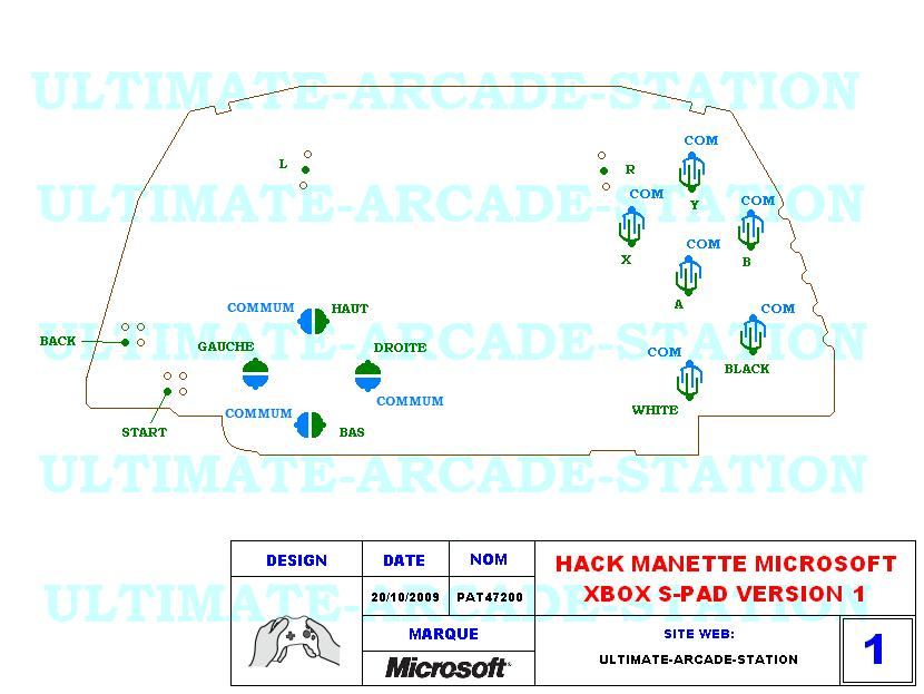 HACK MANETTE MICROSOFT XBOX MODEL S VERSION 1(S-PAD-V1-XBOX)